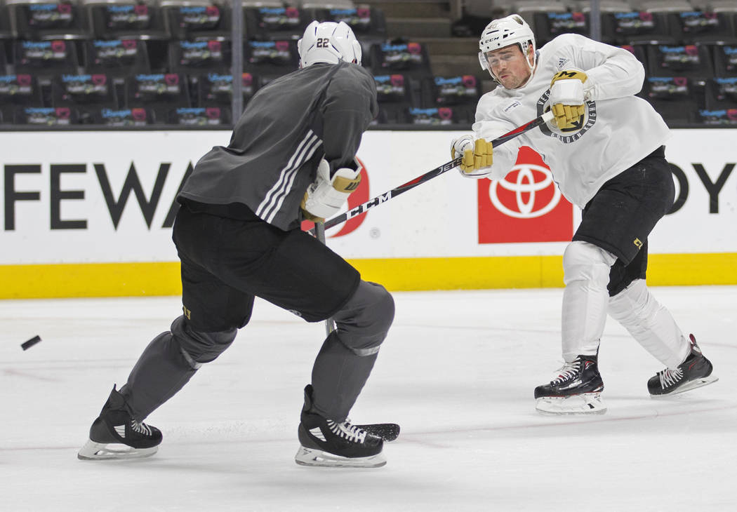 Golden Knights center Ryan Carpenter (40) takes a shot during practice on Thursday, April 11, 2 ...