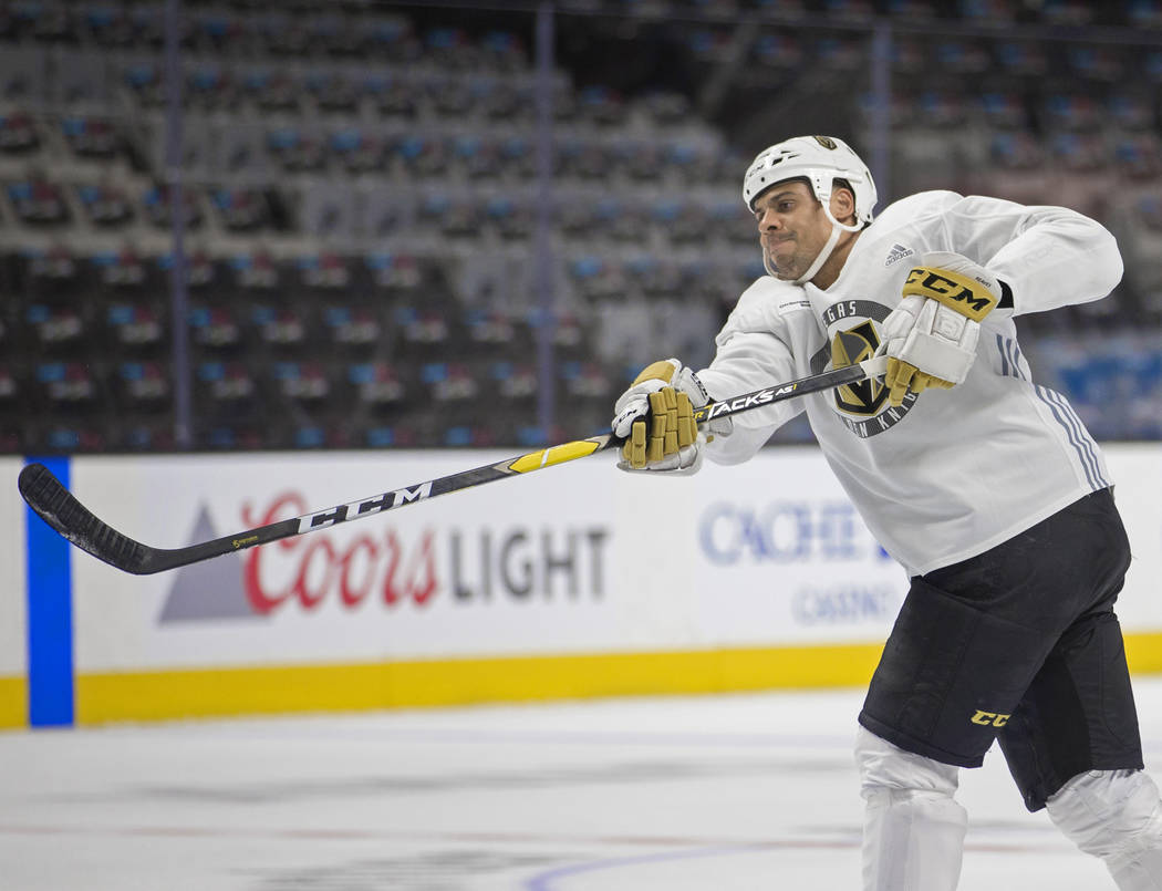 Golden Knights right wing Ryan Reaves (75) shoots on goal during practice on Thursday, April 11 ...
