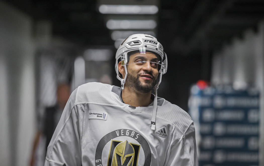 Golden Knights right wing Ryan Reaves (75) walks through the tunnel at SAP Center before the st ...