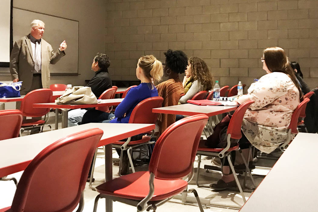 Scott Coffee speaks to a group of UNLV social work students. Rachel Spacek/ Las Vegas Review-Jo ...