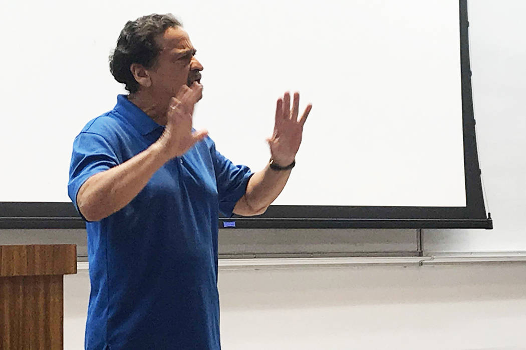 Juan Melendez telling his death row story to a UNLV class on Wednesday, April 10. Rachel Spacek ...