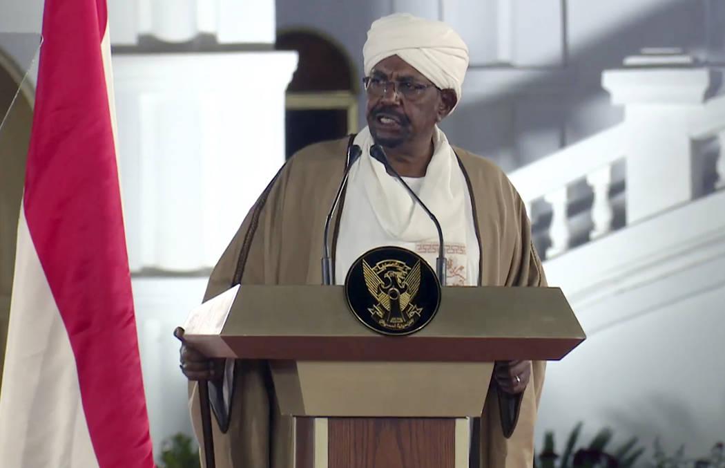 FILE - In this file image taken from video, Sudan's President Omar al-Bashir speaks at the Pre ...