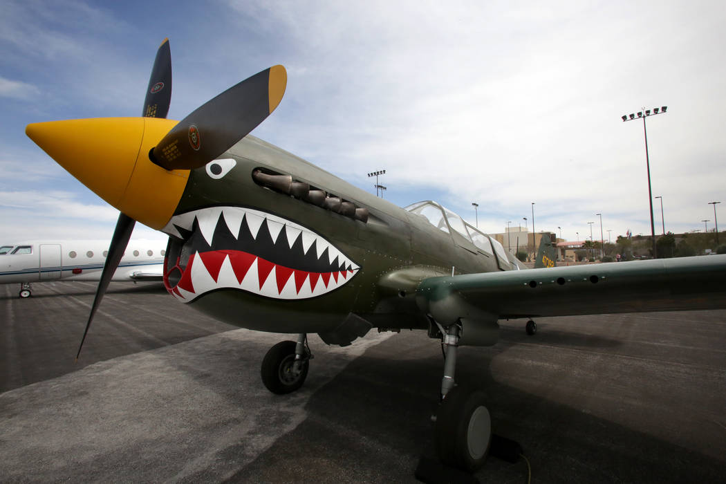 A P-40 Warhawk, the newest addition to the Collings Foundation Wings of Freedom Tour, sits on t ...