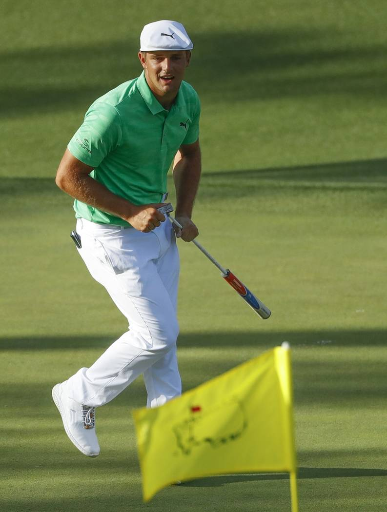 Bryson DeChambeau rects after missing a putt on the 15th hole during the first round for the Ma ...