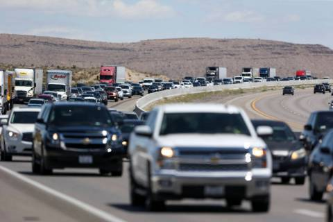 Heavy traffic moves along southbound Interstate 15 near Jean on Monday, May 28, 2018. (Las Vega ...
