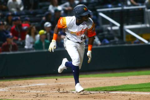 Las Vegas Aviators shortstop Jorge Mateo (14) runs for first base during the first inning of th ...