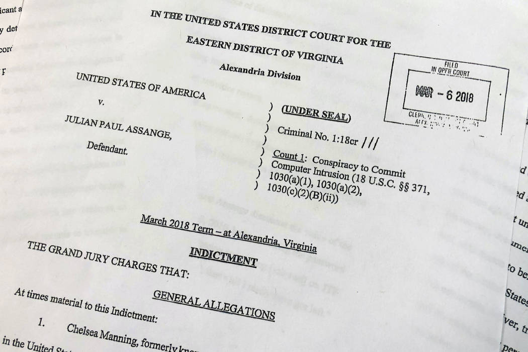 The Grand Jury Indictment against Julian Assange, released by the U.S. Department of Justice, T ...