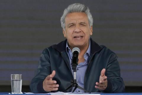 "Ecuador's President Lenin Moreno speaks during the inauguration of the ""Agua Para Todos&qu ..."