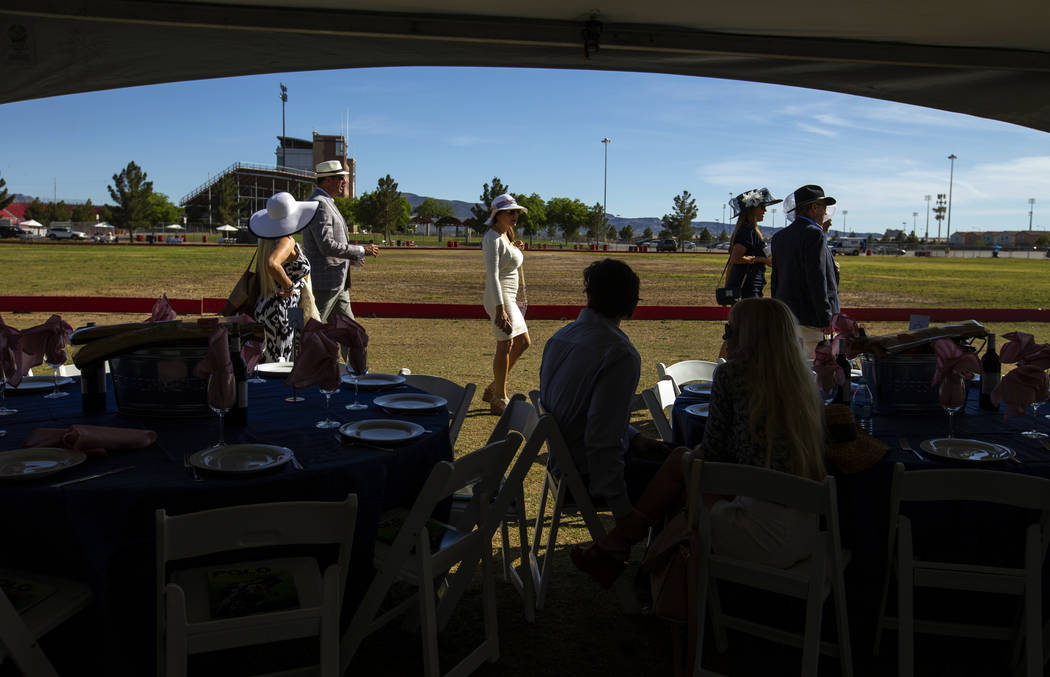 Guests arrive and find their tables during the Las Vegas Polo Classic at Star Nursery Field on ...