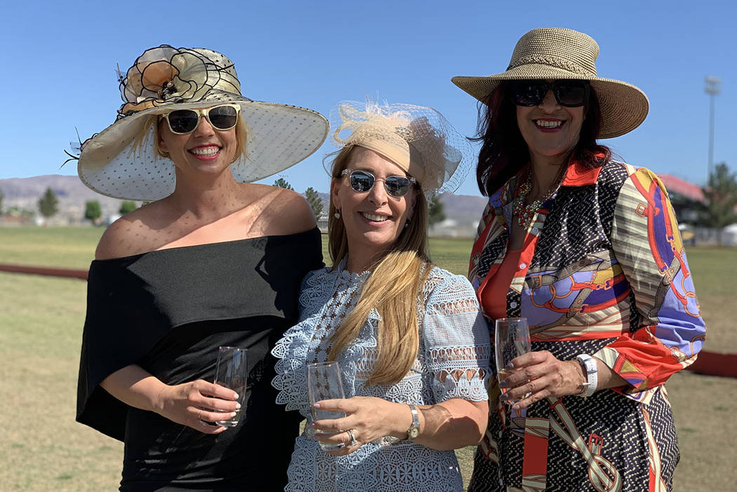 From left to right, Becky MacDonald, Claudia Roberts and Diane Sanchez enjoying an outdoor polo ...
