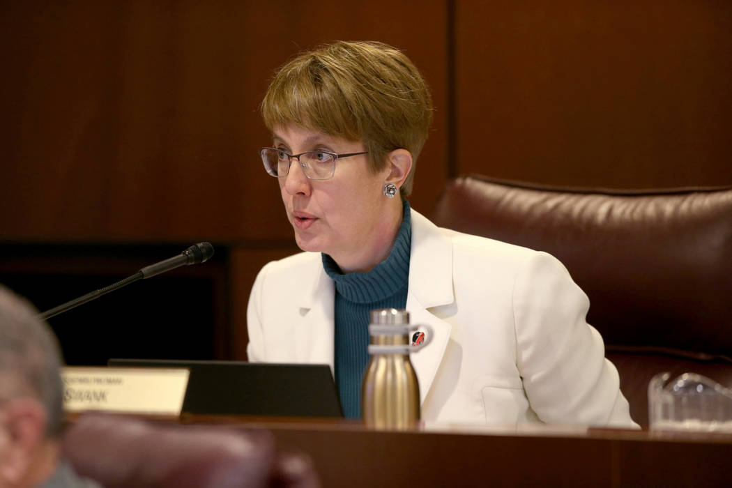 Assemblywoman Heidi Swank, D-Las Vegas, asks a question during a Ways and Means Committee meeti ...
