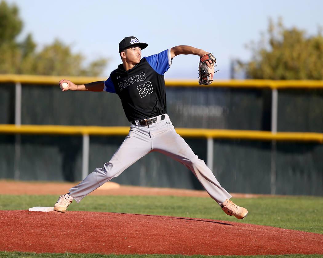 Basic pitcher Demetrius Vigil (29) throws against Basic in the fifth inning of their baseball g ...