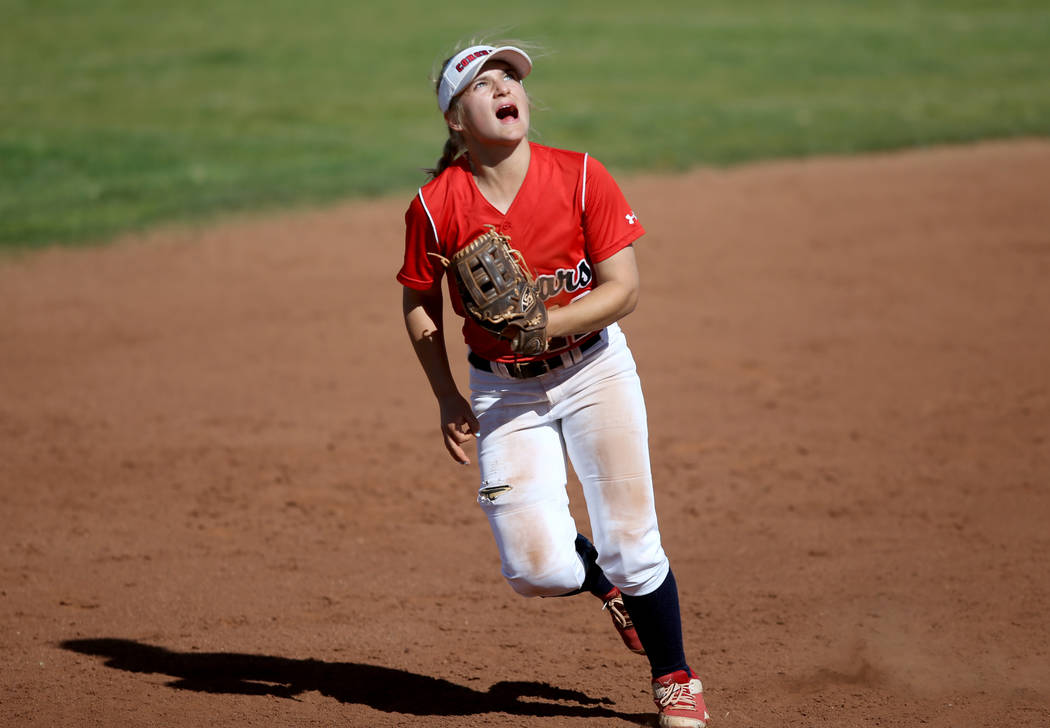 Coronado shortstop Paige Sinicki (12) eyes a fly ball during a softball game against Basic at C ...