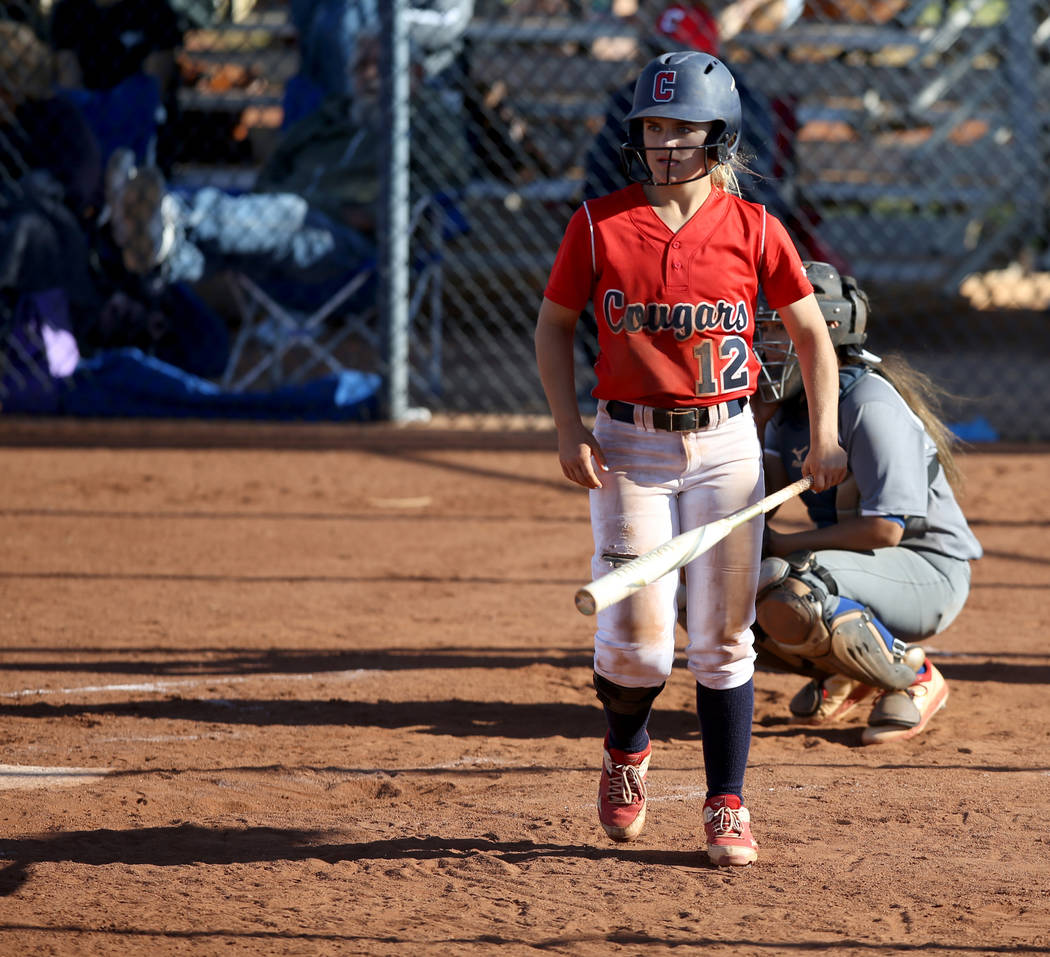 Coronado shortstop Paige Sinicki (12) gets ready to bat during a softball game against Basic at ...