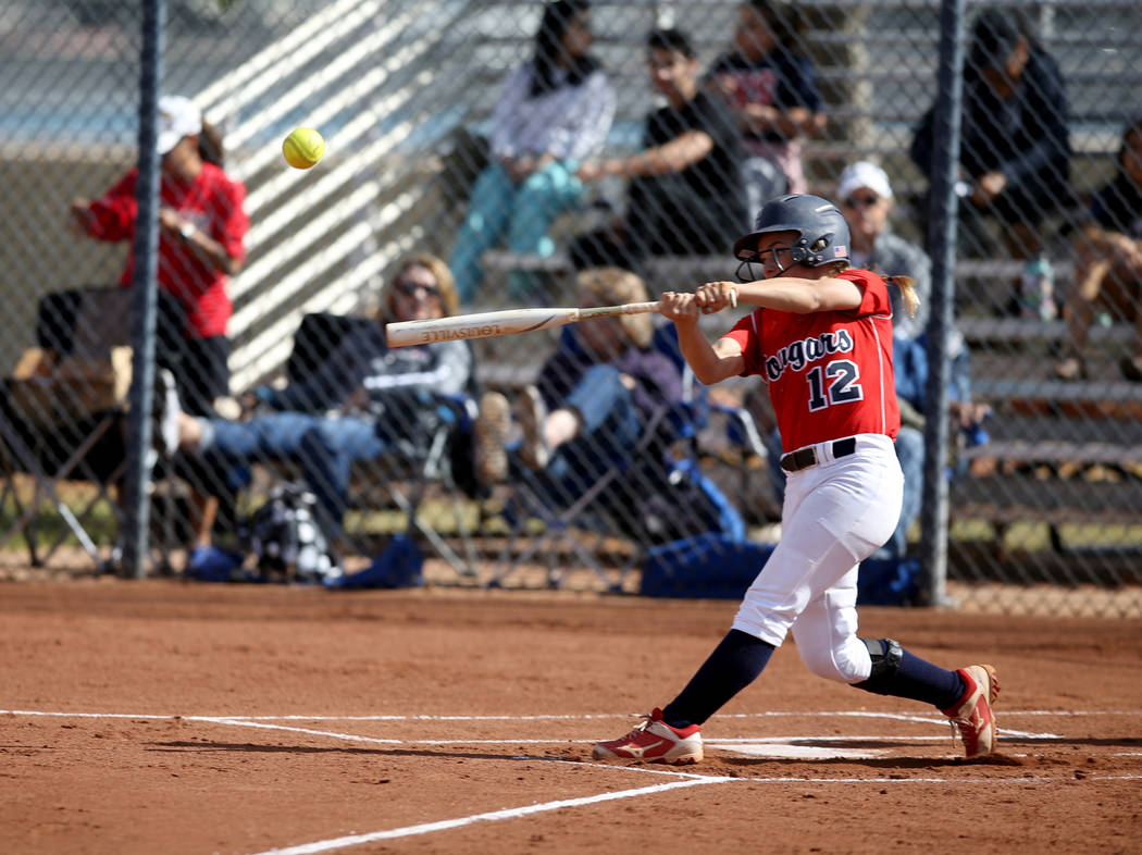 Coronado's Paige Sinicki (12) hits against Basic in the first inning of their softball game at ...