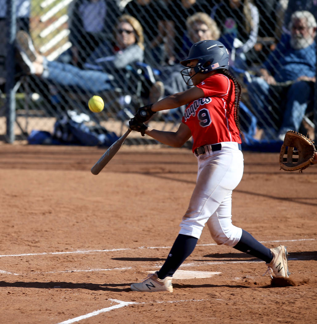 Coronado's Kaila Angel (9) hits against Basic in the third inning during their softball game at ...