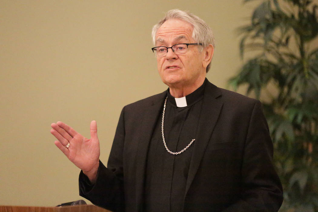 Bishop George Leo Thomas speaks during a press conference at the Catholic Diocese of Las Vegas ...
