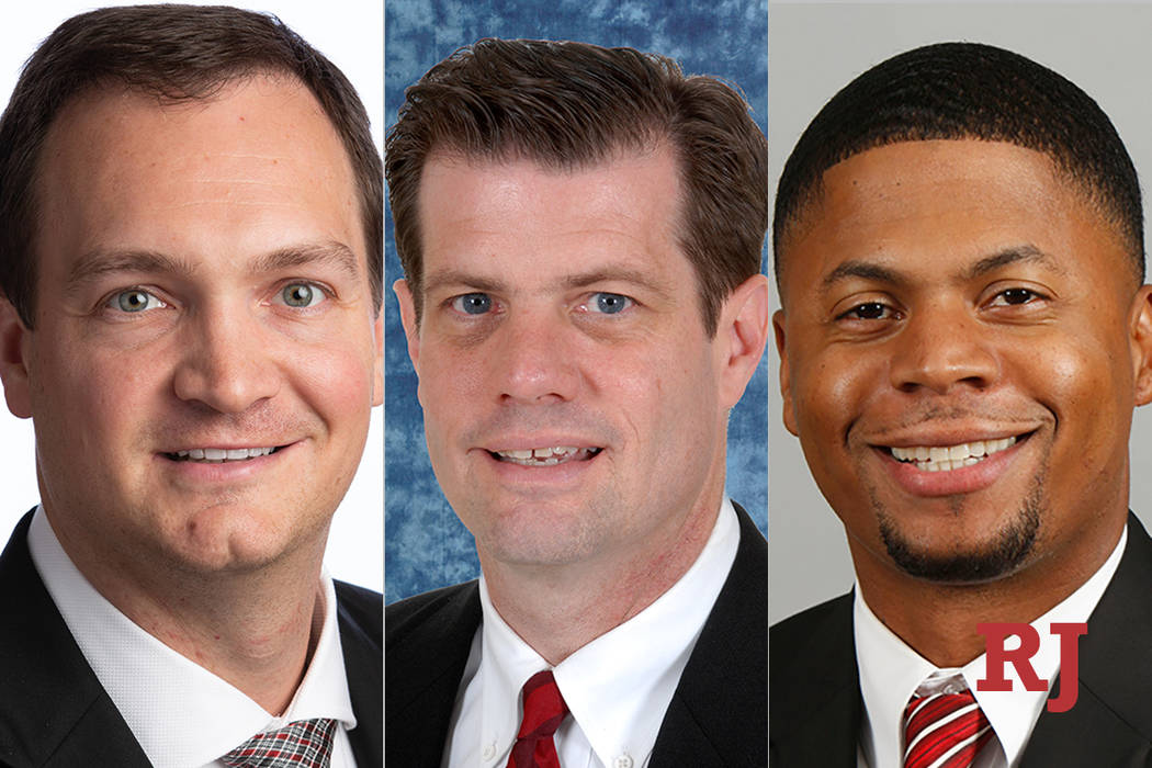 UNLV assistant basketball coaches Kevin Kruger Tim Buckley, and DeMarlo Slocum.