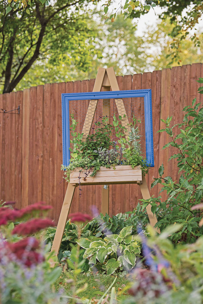 An easel can be placed just about anywhere in the garden. While direct sunlight is usually best ...
