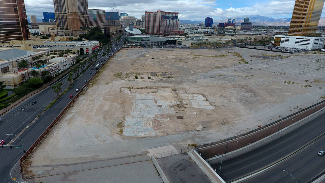 Aerial photo of property owned by Wynn Resorts at the southwest corner of Las Vegas Boulevard S ...