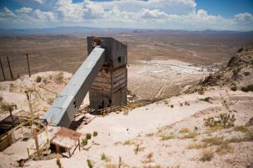 Old mining equipment is seen during a tour of the site of a proposed community inside the Blue ...