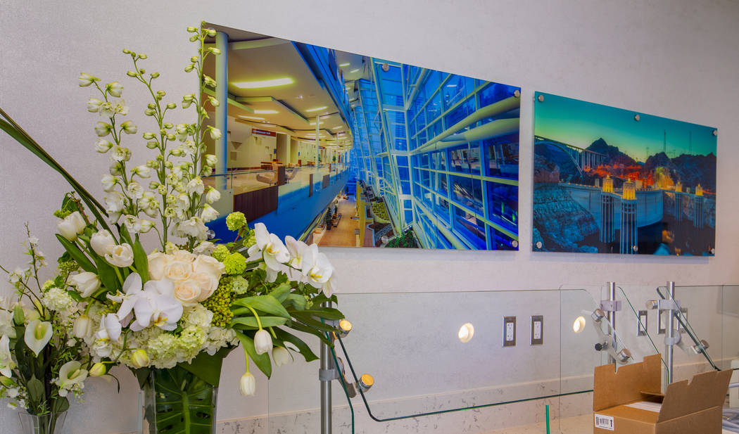Local images are featured in the Resting Zone in the new 7,054 square foot The Club at LAS loun ...