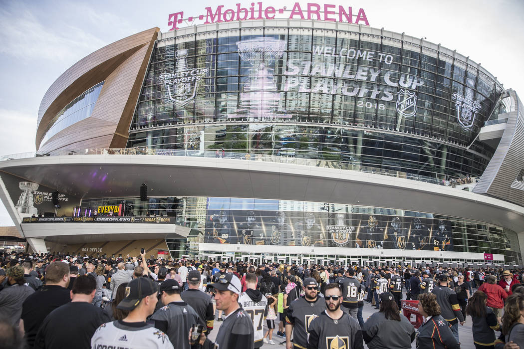 Fans file into T-Mobile Arena before the start of the Golden Knights first round playoff game w ...