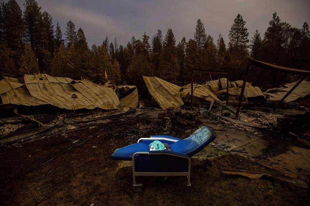 In this Tuesday, Dec. 4, 2018 file photo, a chair rests outside Cypress Meadows Post-Acute, a n ...
