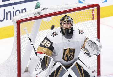 Golden Knights goaltender Marc-Andre Fleury (29) makes a save in the third period during game t ...