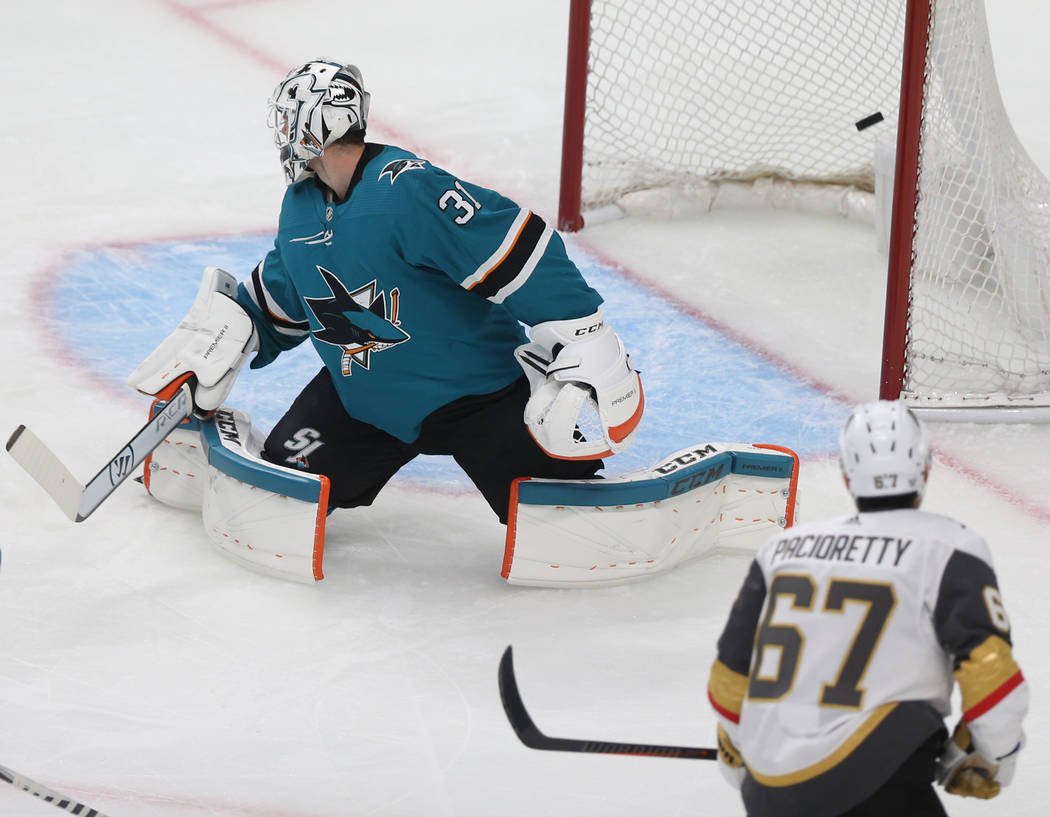 Golden Knights left wing Max Pacioretty (67) scores a goal in the first period against San Jose ...