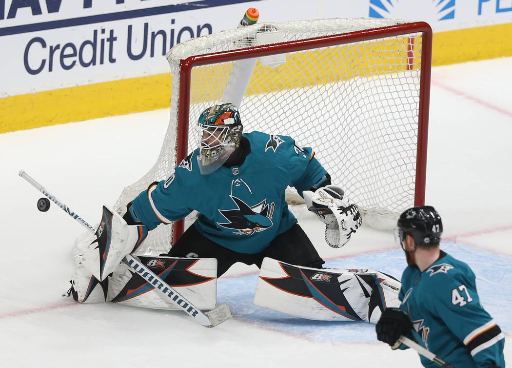 San Jose Sharks goaltender Aaron Dell (30) makes a save in the second period during game two of ...