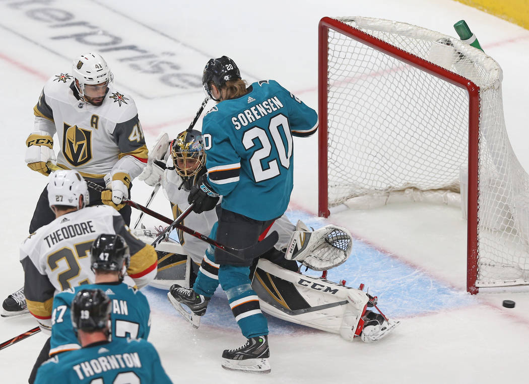 Golden Knights goaltender Marc-Andre Fleury (29) makes a save against San Jose Sharks left wing ...