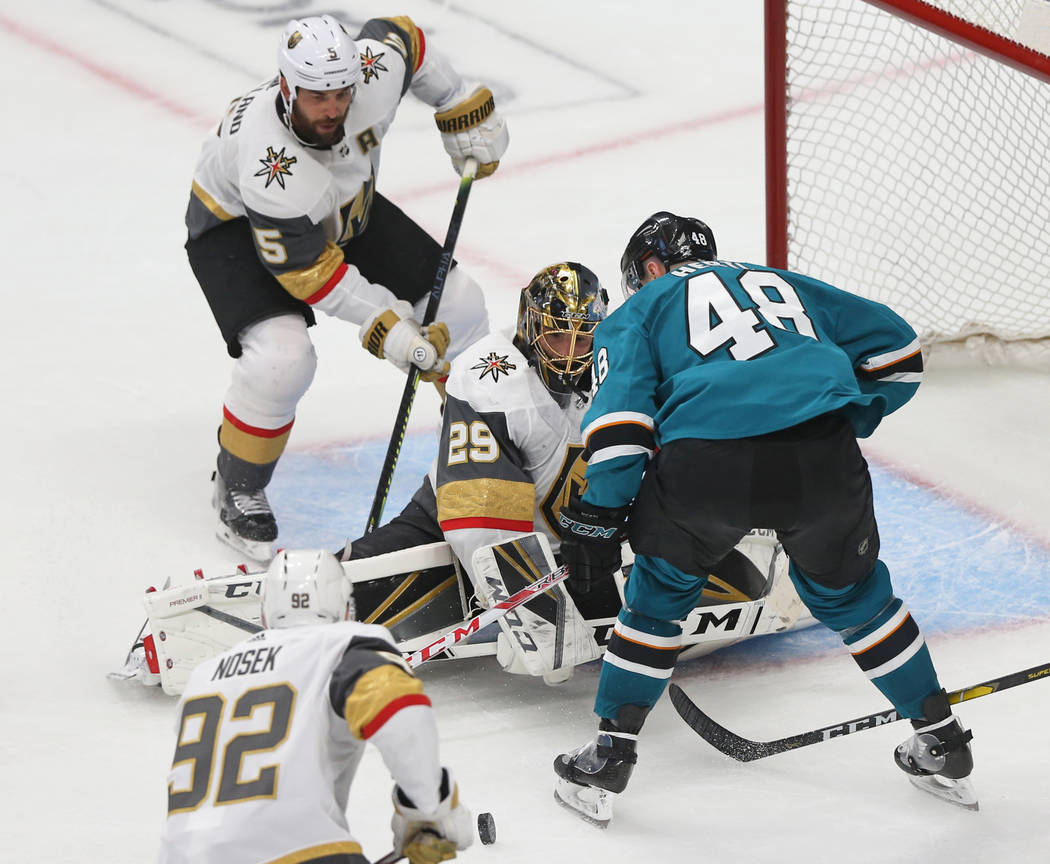 Golden Knights goaltender Marc-Andre Fleury (29) makes a save against San Jose Sharks center To ...