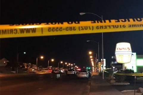 Las Vegas police investigate a crash that left a wheelchair-bound woman dead on Decatur Bouleva ...
