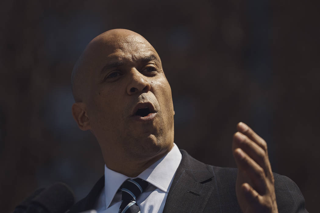 Democratic presidential candidate Sen. Cory Booker, D-N.J. talks to the crowd during a hometown ...