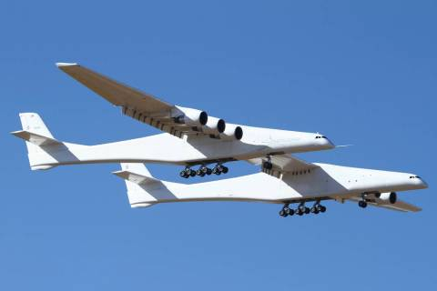 Stratolaunch, a giant six-engine aircraft with the world's longest wingspan , makes its ...