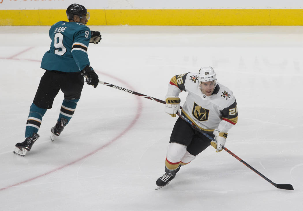FOR FEATURE- Golden Knights center Paul Stastny (26) skates up ice past San Jose Sharks left wi ...