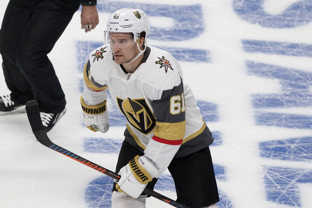 Golden Knights right wing Mark Stone (61) skates towards the bench after scoring a third-period ...