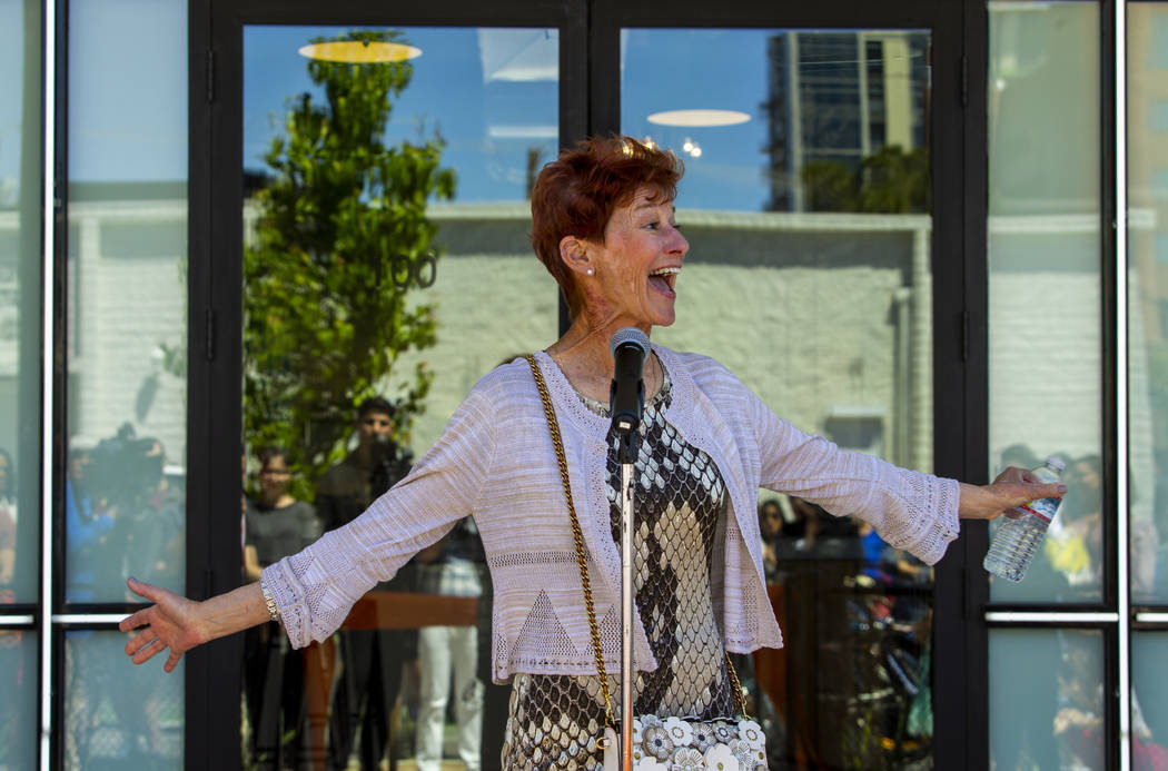 Philanthropist and patron of the arts Beverly Rogers speaks during the launch of The Lucy and g ...
