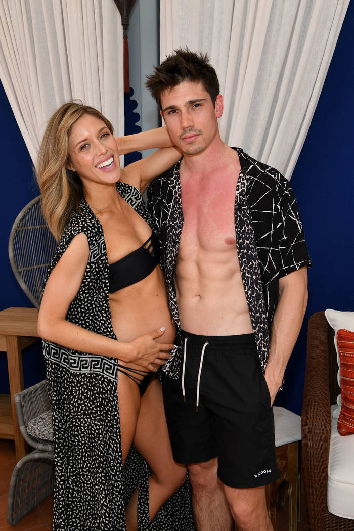 LAS VEGAS, NV - APRIL 13: Actress Kayla Ewell and actor/mode Tanner Novlan attend the debut we ...