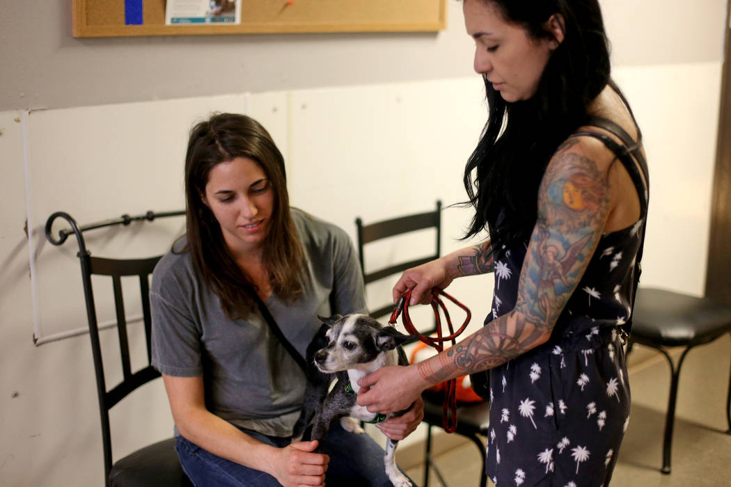Heather Serviolo, left, and Crystal Mesina hold Chloe who they are about to adopt at the Nevada ...