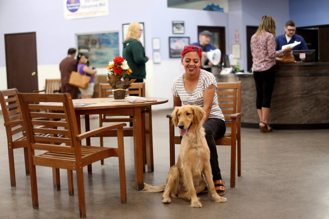 Lili Moreno sits with her dog Bella after being reunited at the Nevada Society for the Preventi ...