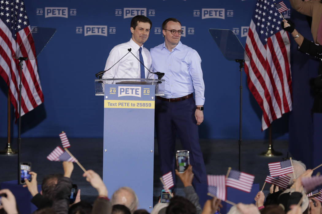 Pete Buttigieg is joined by his husband Chasten Glezman before he announced that he will seek t ...