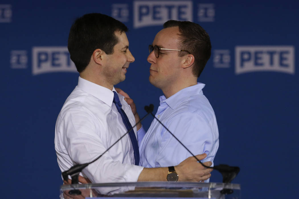 Pete Buttigieg is joined by his husband Chasten Glezman after he announced that he will seek th ...