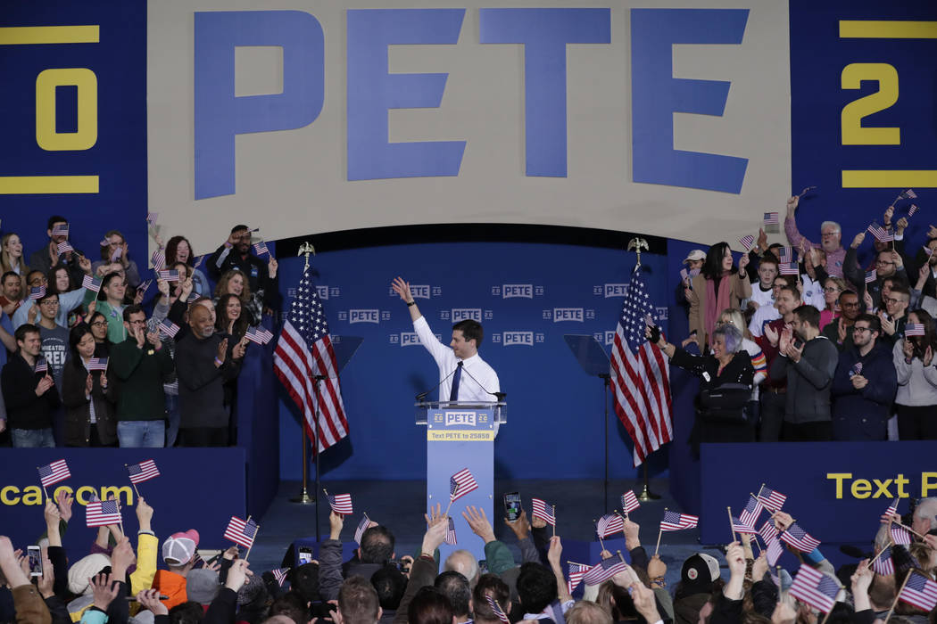 Pete Buttigieg announces that he will seek the Democratic presidential nomination during a rall ...