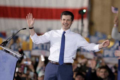 South Bend Mayor Pete Buttigieg announces that he will seek the Democratic presidential nominat ...