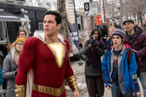 This image released by Warner Bros. shows Zachary Levi, left, and Jack Dylan Grazer in a scene ...