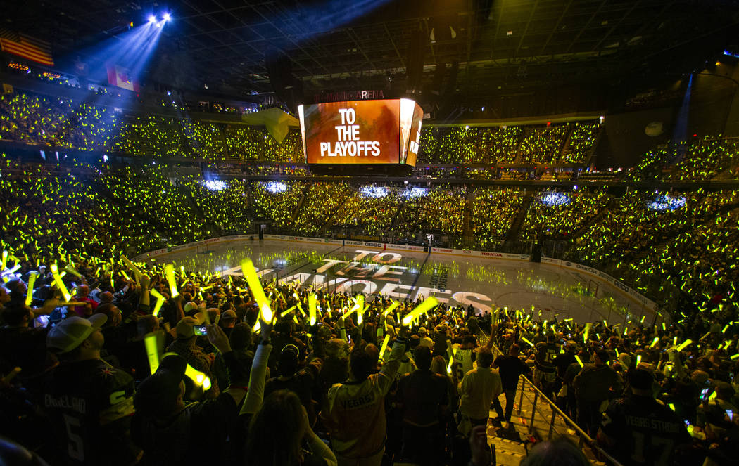 Knights fans welcome their team before the first period of Game 3 of an NHL Western Conference ...