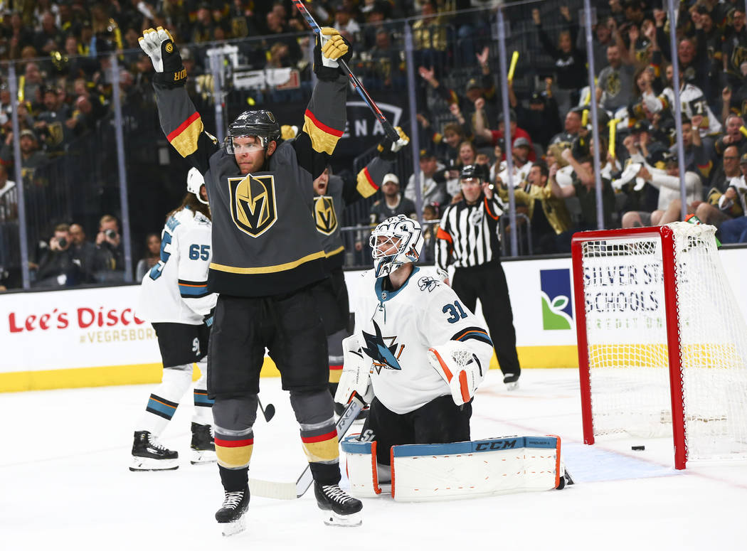 Golden Knights center Paul Stastny celebrates a goal by Golden Knights left wing Max Pacioretty ...