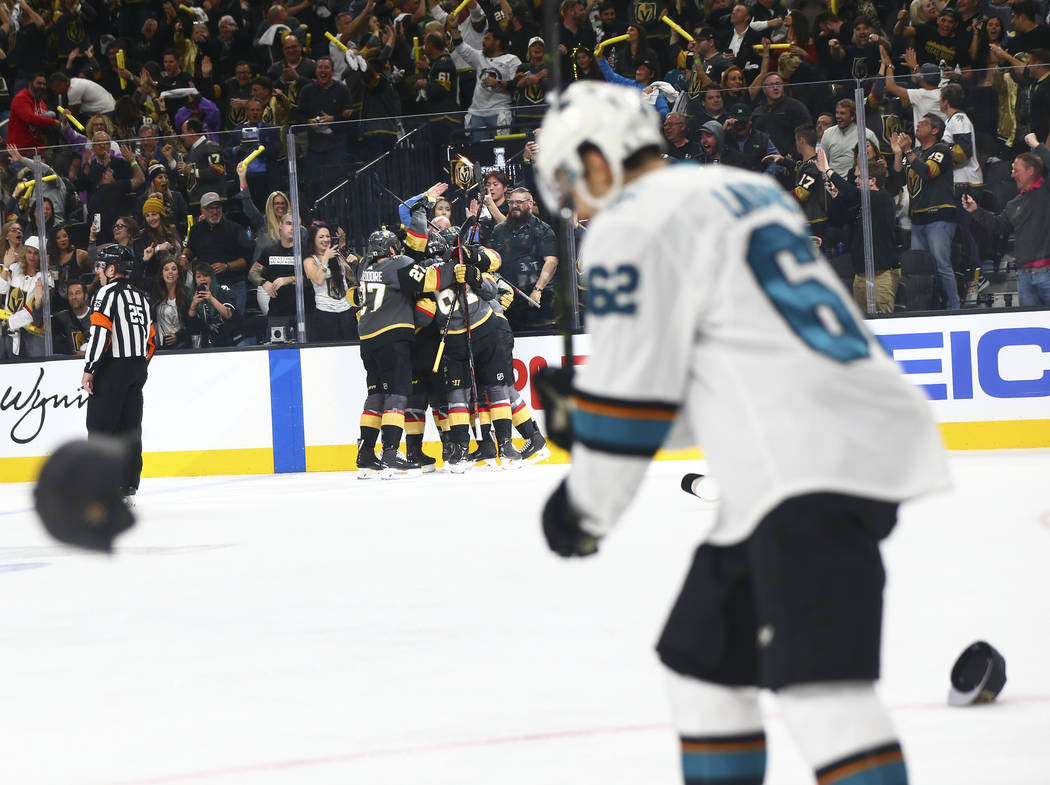 Hats are thrown onto the ice as the Golden Knights celebrate a hat trick by right wing Mark Sto ...
